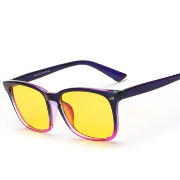 Square Yellow lenses Glasses Anti-Rflective Radiation Blue light Men Women Eye Protection Night Vision Driving Computer Goggle