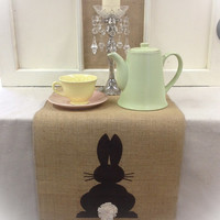 "Burlap Table Runner 16"", & 18"" wide with an Easter bunny rabbit on each end"