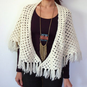 Thick Vintage Hand Knit Crochet Sweater Shawl