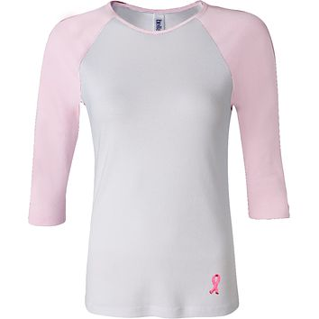 Buy Cool Shirts Breast Cancer Embroidered Pink Ribbon Bottom Print Ladies Raglan