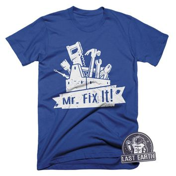 Mr. Fix It T Shirt Fathers Day Tees Dads T Shirts Gifts For Dad Husbands Tees Fathers Gift Ideas Tools T Shirt Grandpa T Shirt Funny Tees