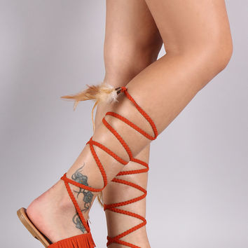 Qupid Fringe Feathers Slide Sandals