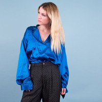 OMO Norma Kamali Vintage silk blouse / 80s blue silk avant garde draped top /poet sleeve low cut top / rare designer