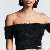 Fuzzy Off-the-Shoulder Top