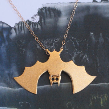 Gold Bat Necklace , Bat Hanging Upside Down on a gold filled Chain , Halloween Jewelry