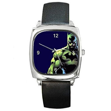 Batman, Capped Crusader on a Silver Square Watch with Leather Band [Watch]