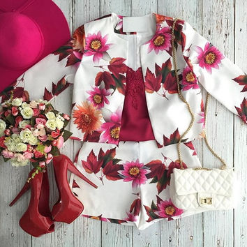 Floral Long Sleeve Cropped Top Shorts Set