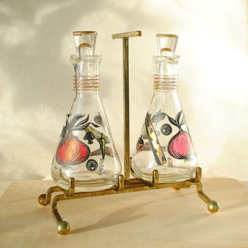 Anchor Hocking Oil and Vinegar Cruet Set Condiment Set Vintage Five Piece