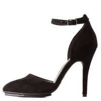 Black Pointed Toe Ankle Strap D'Orsay Pumps by Charlotte Russe