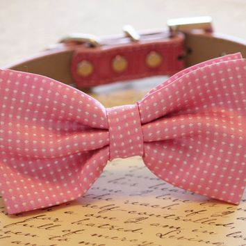 Polka Dots Pink Dog Bow Tie with high quality leather collar, polka dots wedding