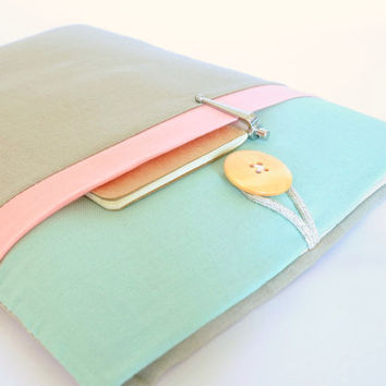 "11"" to 15.6"" Laptop Sleeve MacBook Case Padded Chromebook Cover,Custom Laptop Sizes Available, with Pocket - Seafoam, Peach, Tan Color Block"