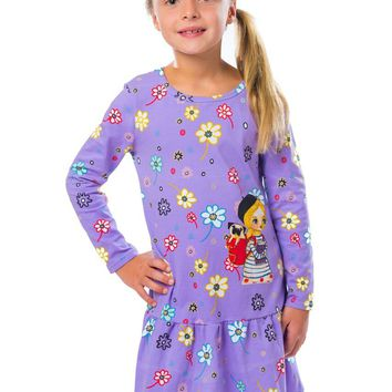 Jelly the Pug Violet & Yellow Floral Christie Dress - Toddler Girl 2T