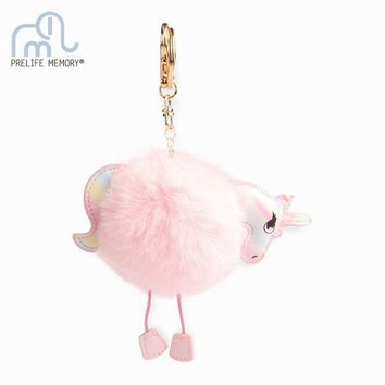 ONETOW Lovely Fluffy Unicorn Pony Keychain Pendant Cute Pompom Artificial Rabbit Fur Key Chain Bag Car Key Ring Hang Bag Accessories