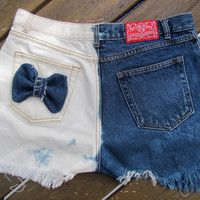 There are two sides to every story princess.  Frayed jean denim shorts multi bleach