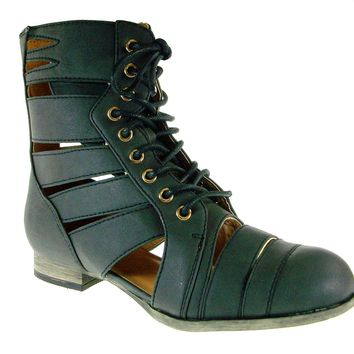 Women's Wild Diva Lace Up Cut Out Booties Tosca-124A Black