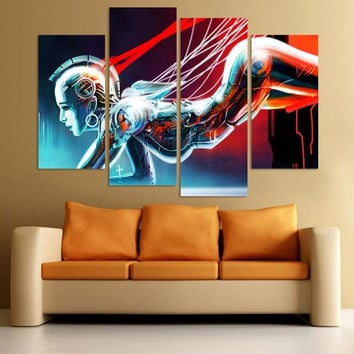 Free Shipping 4pcs/set Figure Abstract wall Painting Printed Painting Oil Painting On Canvas Home Decoration Living Room
