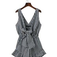 Deep V-Neck Bowknot Ruffled Hem Plaid Romper