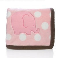 "Elegant Baby ""Lil Buddies"" Appliqued Dot Plush Blanket - Edwina the Elephant"