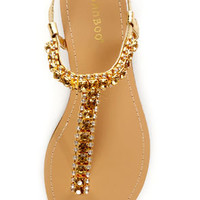 Bamboo Steno 70 Gold Rhinestone T Strap Thong Sandals