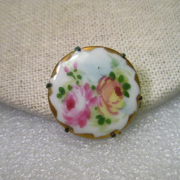 Victorian Hand Painted Porcelain Round Brooch, Double Rose, Yellow & Pin, 1""