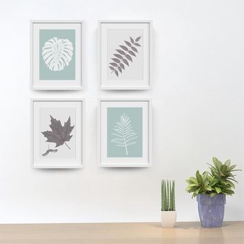 Canvas Wall Art: Modern Simple Grey White Leaf Prints for Living Room and Bathroom Wall Art