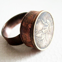 Coin. adjustable copper ring with brass coin metalwork antiqued handmade ring