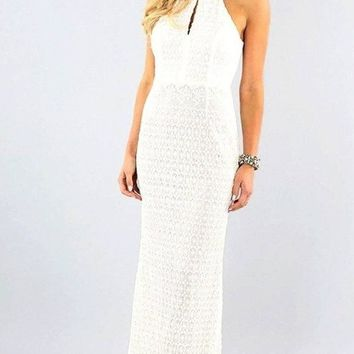 High Society Crochet Lace Maxi Dress
