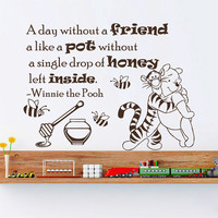 Winnie The Pooh Wall Decals Love Quote A Day Without A Friend Interior Design Vinyl Decal Sticker Art Baby Kids Nursery Room Decor MR345