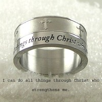 Men or Womens Stainless Steel Ring Cross Ring with Bible Verse. I Can Do All Things through Christ Who Strengthens Me.