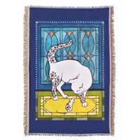 Art Deco Style Cat and Mouse Throw Blanket