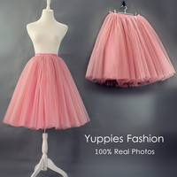 Yuppies Fashion 7 Layers Midi Tulle Skirt American Apparel Quality Tutu Skirts Womens Petticoat 2017 Autumn faldas saia jupe