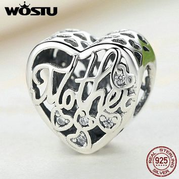100% 925 Sterling Silver MOTHER & SON Bond Heart Charms Fit Original WST Charm Bracelet Authentic Jewelry Accessories FLC083