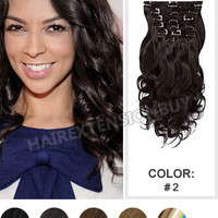 "Clip In Hair Extensions, 16"" #2 Darkest Brown Wave Full Head Set Clip In Human Hair Extension [CHW0438] - www.hairextensionbuy.com"