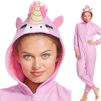 Adult One Piece Hooded UNICORN Fleece Pajamas Woman S-XXL