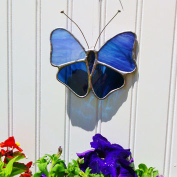 Butterfly Sun Catcher Blue Stained Glass Free Shipping