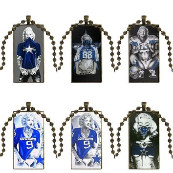 Marilyn Monroe Dallas Cowboys Glass Cabochon Jewelry Bronze Color With Long Pendant Choker Rectangle Necklace For Girls Gift