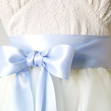 Satin Ribbon Belt - Light Blue, 2.25 Inches Wide
