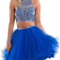 R&J Women's Two Pieces Halter Coral Homecoming Rhinestones Short Formal Prom Dress Blue Size 2
