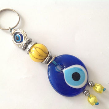 CHRİSTMAS SALE 15% OFF Evil Eye Keychain with Turkish / Greek Nazar Bead, mati handra,Lucky evil eye keychain, blue and yellow bead