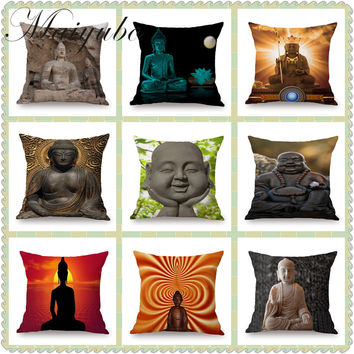 Religion Style Cushion Cover Thailand Art Vintage Throw Pillow Covers Interior Decorative  Buddha Chair Waist Pillow Cases PC457