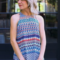Blue Print Halter Top - Veronica M Mosaic Print Tank-$59.00 | Hand In Pocket Boutique