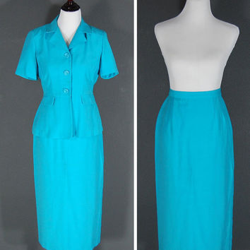 Vintage Dress Suit / Teal Aqua / 2 Piece / Size 8