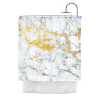"KESS Original ""Gold Flake"" Marble Metal Shower Curtain"