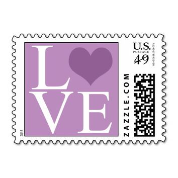 Purple Love with Heart Stamps