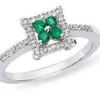 0.08 Carat Diamond & 1/6 Carat Emerald Fashion Ring in 14K White Gold