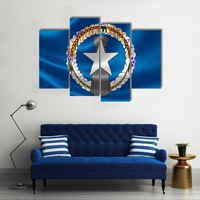 Flag Of Northern Mariana Islands Multi Panel Canvas Wall Art