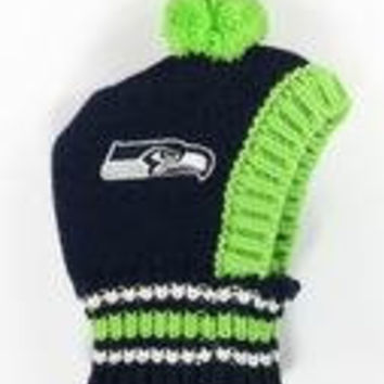NFL Licensed Seattle Seahawks Knit Pet Pom Beanie Hat (Medium 20lbs to 45-50 lbs)