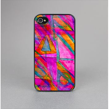 The Grunge Abstract Pink Painted Shapes Skin-Sert for the Apple iPhone 4-4s Skin-Sert Case