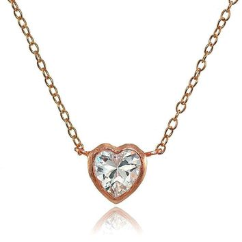 Bezel-Set Heart Cubic Zirconia Necklace in Rose Gold Plated Sterling Silver