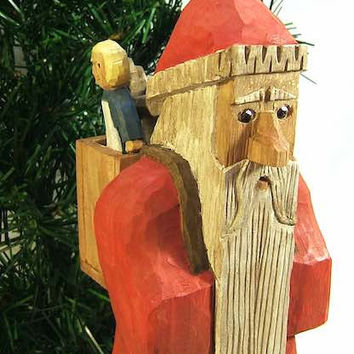 Handmade Wood Folk Art Santa Claus Carving Unique Gift Art Sculpture Wood Carving